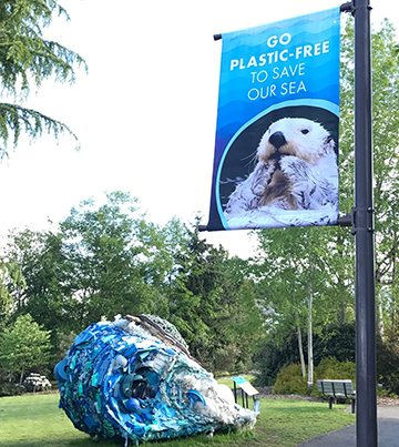Point Defiance Zoo - Otter | Go Plastic-Free To Save Our Sea | Fabric Banner | Banners | Go Green Banners